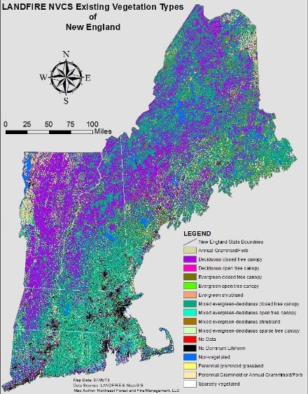 Figure 1. Existing Vegetation Types (National Vegetation Classification System Subclass) of New England as identified by the LANDFIRE project. Map by Joel Carlson.