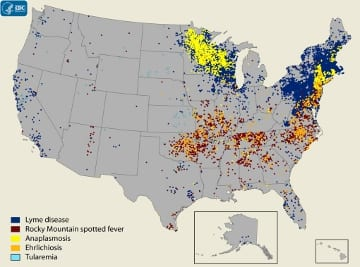 Reducing TickBorne Diseases In New England Using Integrated Pest - Tick us map